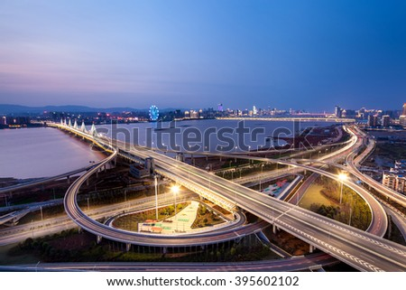 Asia's largest across the rivers in Shanghai landmarks a spiral bridge at night