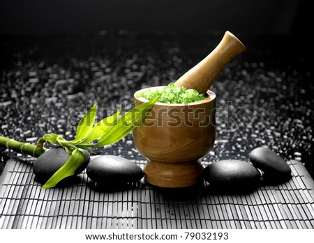 Asia still life wooden mortar and pestle with bamboo - stock photo