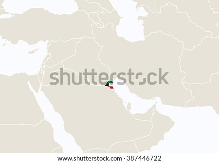Asia with highlighted Kuwait map. Raster copy. - stock photo