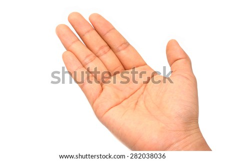 Asia woman hand on white backgroud - stock photo