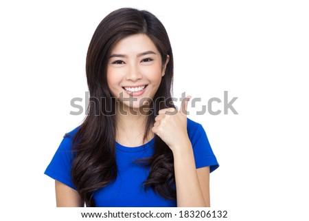 Asia woman thumb up - stock photo