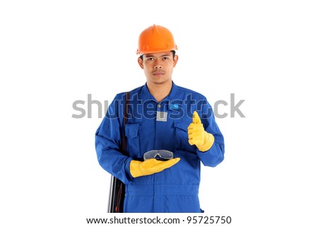 asia worker with Construction safety glass concept - stock photo