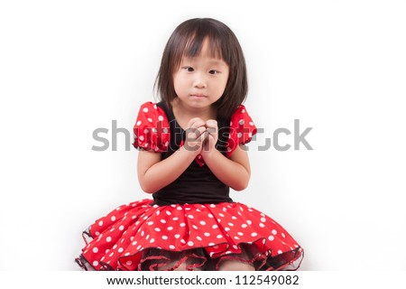 asia young girl wear red dress and smile