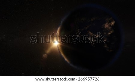 Asia zoom in view from space (Elements of this image furnished by NASA) - stock photo