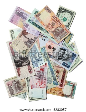 Asian, African and Eastern European exotic banknotes texture isolated on white - stock photo