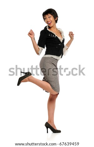 Asian American businesswoman expressing joy isolated over white background - stock photo