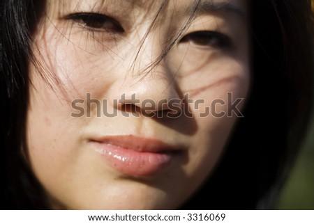 Asian American Face Closeup - stock photo