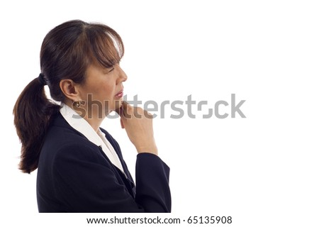 Asian American senior businesswoman showing pensive expression with hand on chin isolated over white background - stock photo