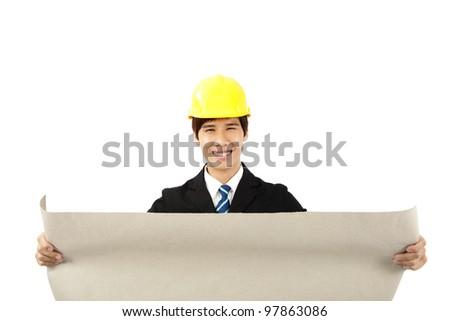 asian architects holding a set of building plans isolated on a white - stock photo