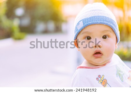 Asian Baby Boy at the Summer Park - stock photo