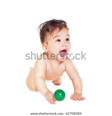 asian baby boy isolated on white