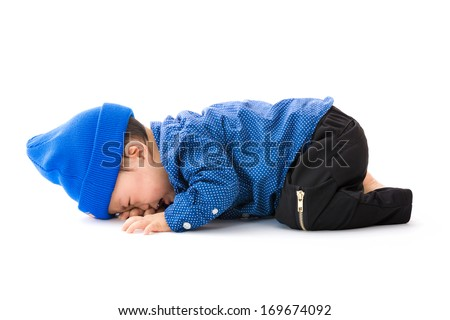 Asian baby boy lay down crying - stock photo