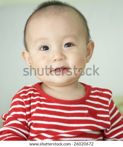 asian baby boy portrait, 10 months old. - stock photo