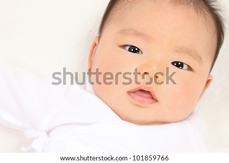 Asian baby boy white background