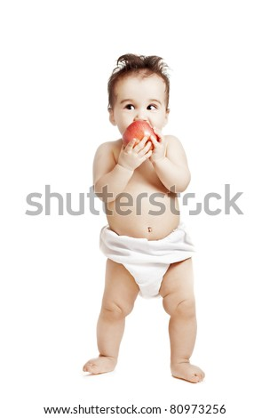 asian baby boy with apple on a white background - stock photo