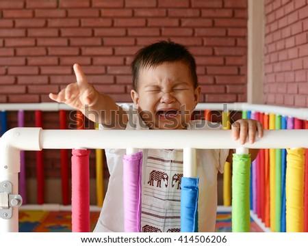 Asian baby crying - stock photo
