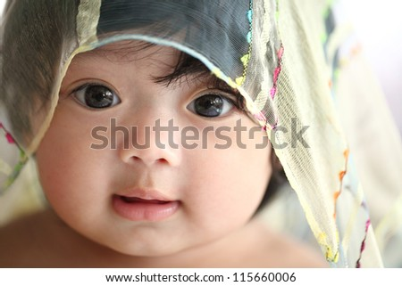 Asian baby face - stock photo