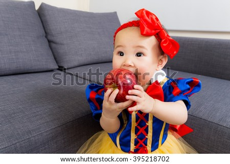 Asian baby girl with halloween party dressing - stock photo