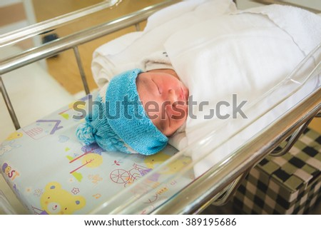 Asian baby newborn in the hospital