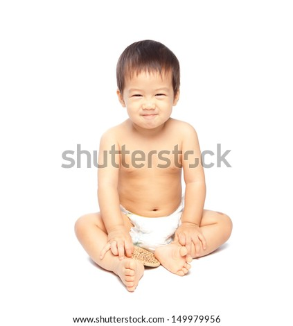 Asian baby smiling and sitting  isolate on white background - stock photo