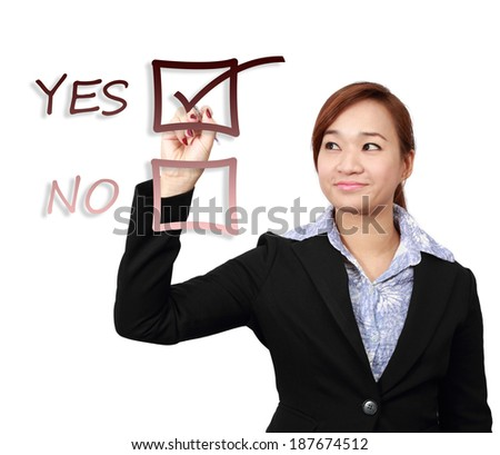 Asian beautiful BusinessWoman Checking the Yes Box Isolated - stock photo
