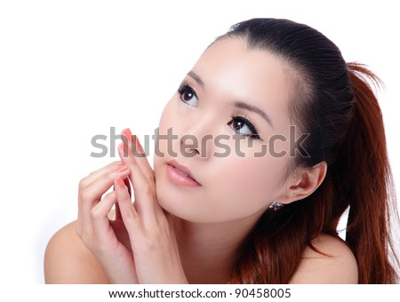 Asian beauty skin care (Spa) woman face close-up, Beautiful young woman looking up. Isolated on white background - stock photo