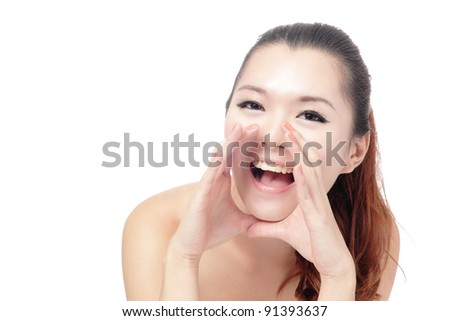 Asian beauty skin care woman face, Beautiful young woman touching her face looking to the side. Isolated on white background - stock photo