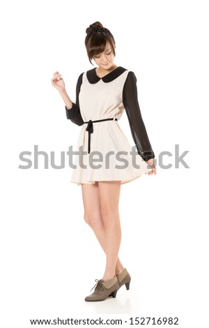 Asian beauty wear a spring dress, full length portrait isolated on white background. - stock photo