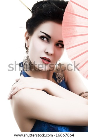 Asian beauty with japanese fan, isolated on white background - stock photo