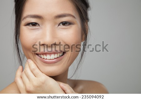Asian beauty woman skin care close-up. - stock photo