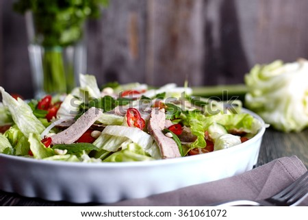 Asian beef salad with cucumber, lettuce and chilli - stock photo