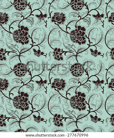 Asian blue background with brown flowers. Seamless pattern. - stock photo
