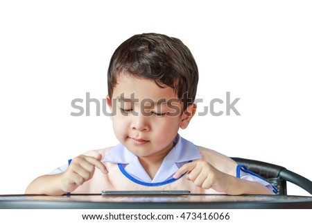 Asian boy hand touch to play game on smartphone