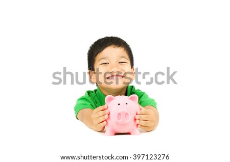 asian boy happy with piggy bank saving coins, white isolation background