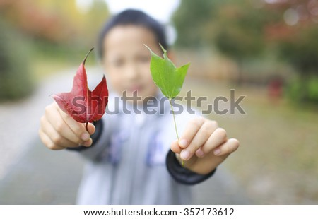 Asian boy holding one red leaf and one green leaf,China