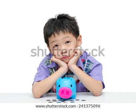 Asian boy thinking what to buy with his savings isolated over white - stock photo