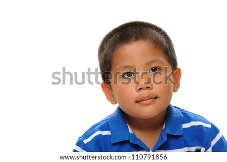 Asian boy wearing blue shirt looking cute and happy