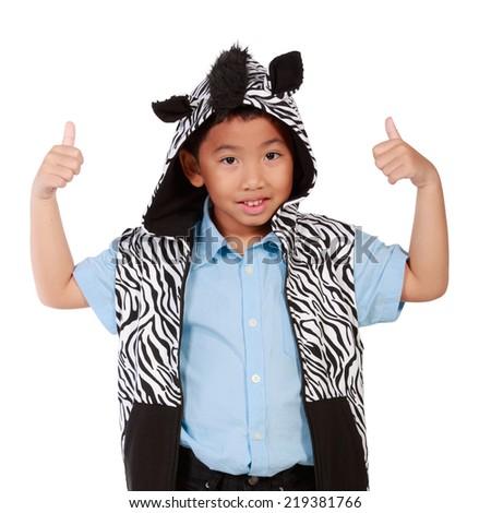 Asian boy wearing jackets thumb up isolate white background - stock photo