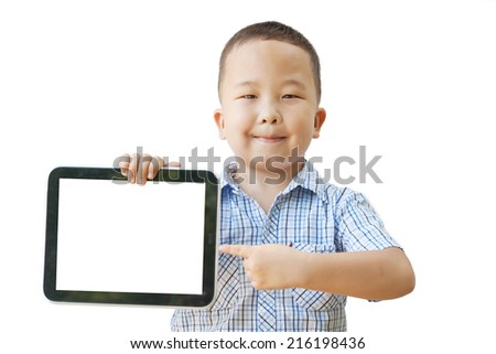 Asian boy 6 years with tablet computer, isolated on white background - stock photo