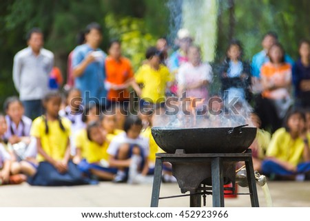 Asian boys and girls are trained firefighters . - stock photo