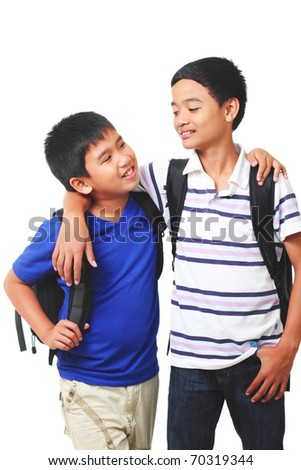 asian boys having conversation.white background - stock photo