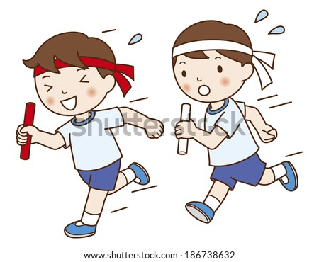 Asian Boys on run race at sports day - stock photo