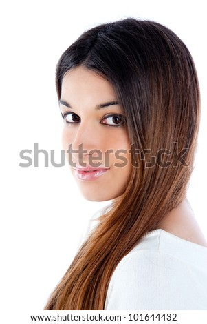 asian brunette indian woman with long hair portrait - stock photo
