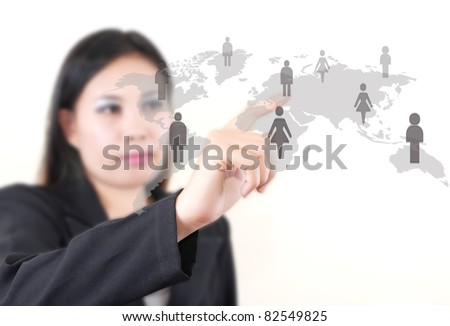 Asian business lady pushing people communication on the whiteboard. - stock photo