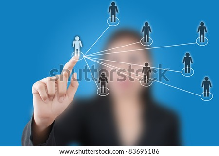 Asian business lady pushing people social network on the whiteboard. - stock photo