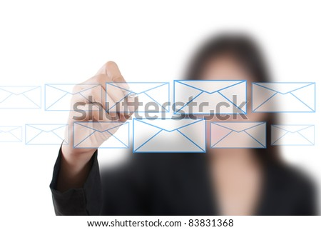 Asian business lady writing mail for social network.