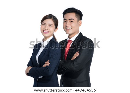 Asian business man and woman are posing