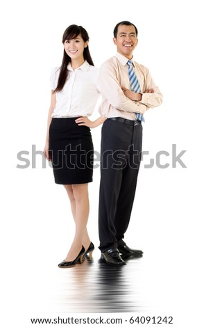 Asian business man and woman, full length portrait over white background. - stock photo