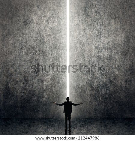 Asian business man facing the light, concept of freedom, relax, future, successful etc. - stock photo