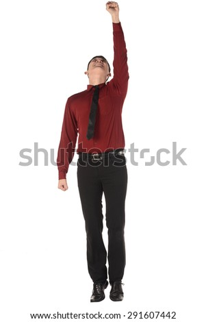 Asian business man flying isolated over white background - stock photo